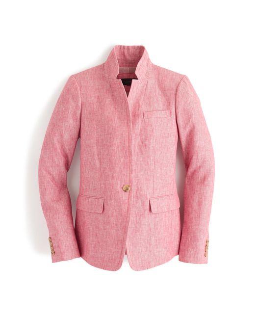 J Crew Regent Blazer In Linen In Pink Nantucket Pink