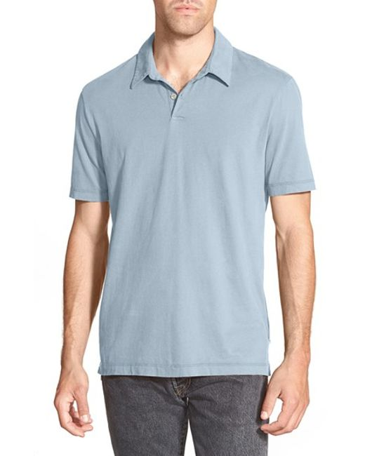 James Perse | Gray Trim Fit Sueded Jersey Polo for Men | Lyst