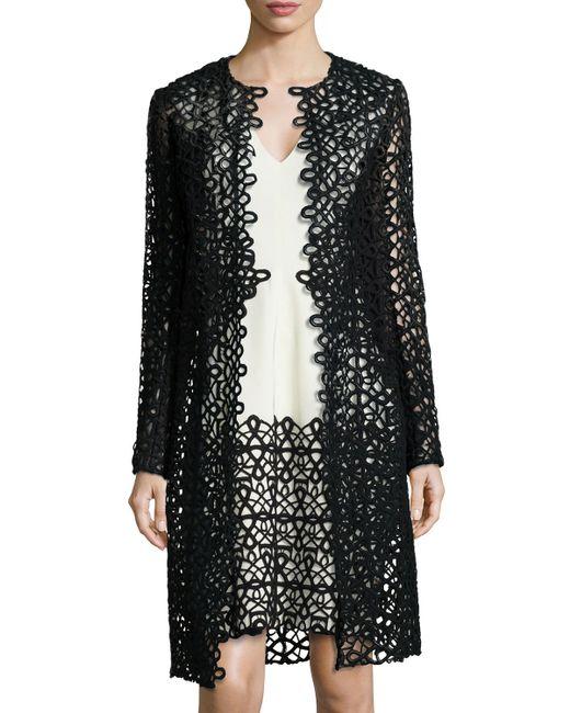 Lela Rose   Black Long-sleeve Scroll Guipure Lace Jacket   Lyst