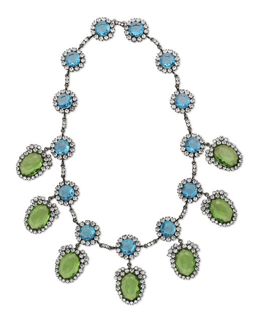 Kenneth Jay Lane | Blue Aquamarine & Peridot Drop Necklace | Lyst