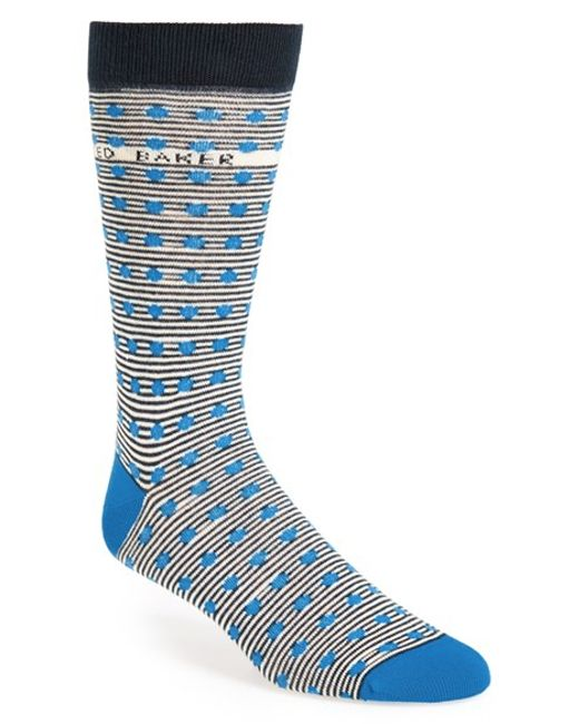 Ted Baker | Blue Stripe & Spot Socks for Men | Lyst