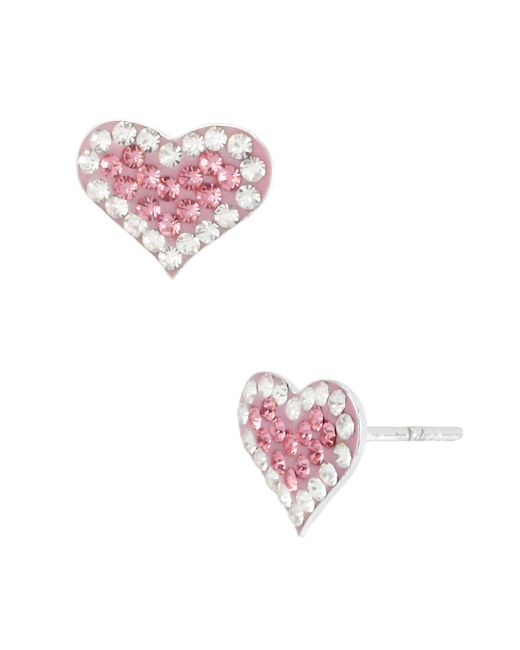 Betsey Johnson | Pink Crystal Heart Stud Earrings | Lyst