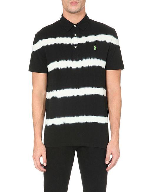 Ralph Lauren Tie Dye Stripe Polo Shirt In Black For Men