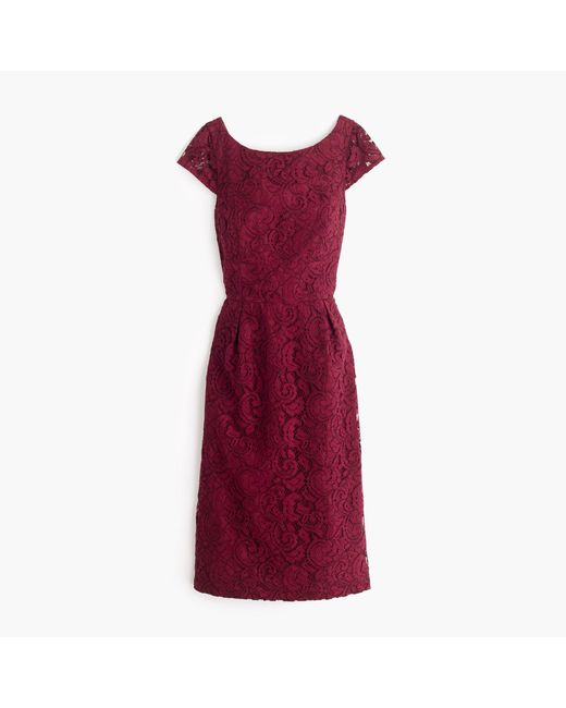 J.Crew | Red Elsa Dress In Leavers Lace | Lyst