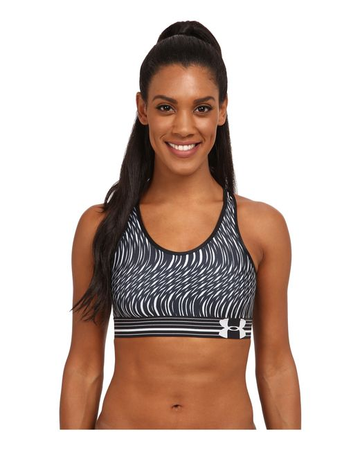 Under Armour | Black Ua Heatgear® Alpha Printed Bra | Lyst