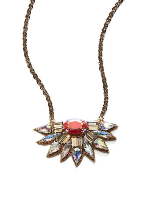 Deepa Gurnani | Metallic Sunburst Crystal Pendant Necklace- 18 In | Lyst