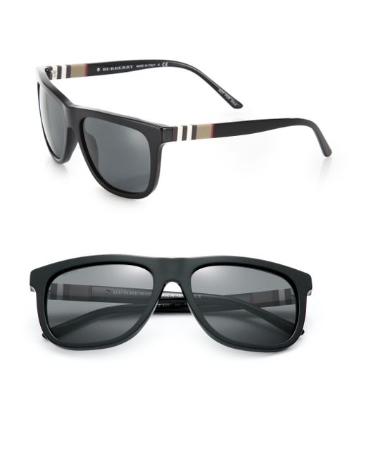Burberry | Black House-Checked Square Sunglasses for Men | Lyst