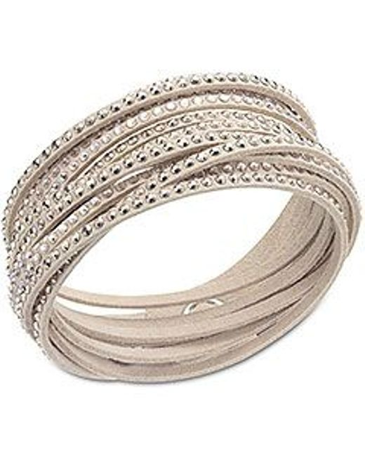 Swarovski | Natural Bracelet, Gray Fabric Crystal Wrap Bracelet | Lyst