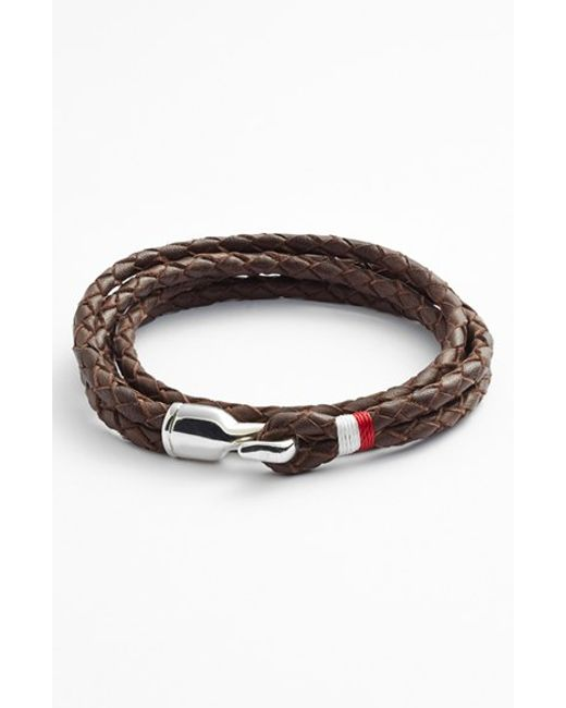 Miansai | Brown 'trice' Braided Leather Wrap Bracelet for Men | Lyst