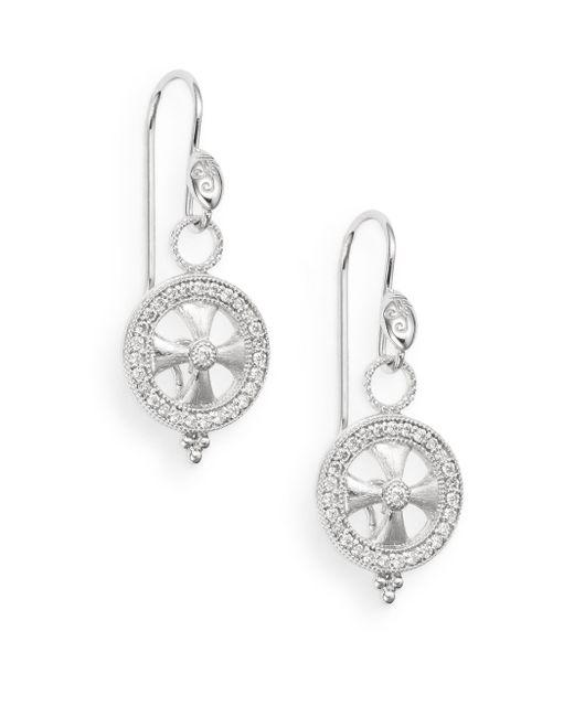 Jude Frances   Metallic 0.29 Tcw Diamond & 18k White Gold Open Maltese Drop Earrings   Lyst