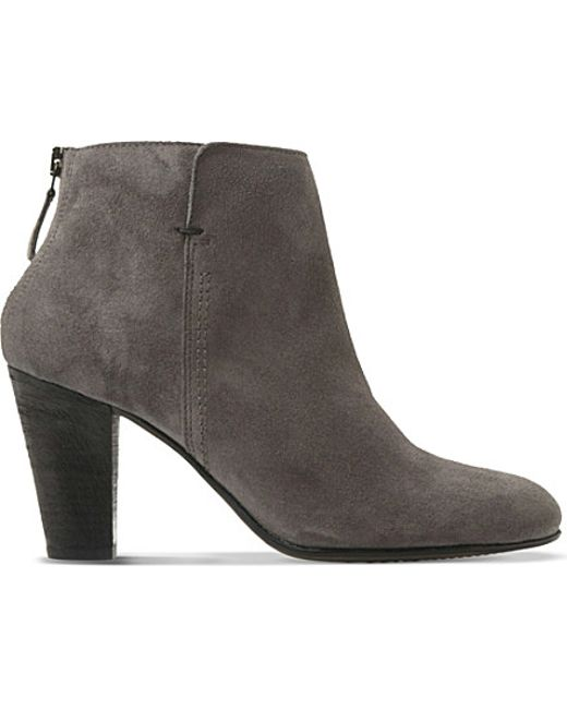 dune black pharah suede ankle boots in gray lyst