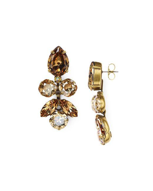 Sorrelli   Metallic Lotus Bloom Swarovski Crystal Drop Earrings   Lyst