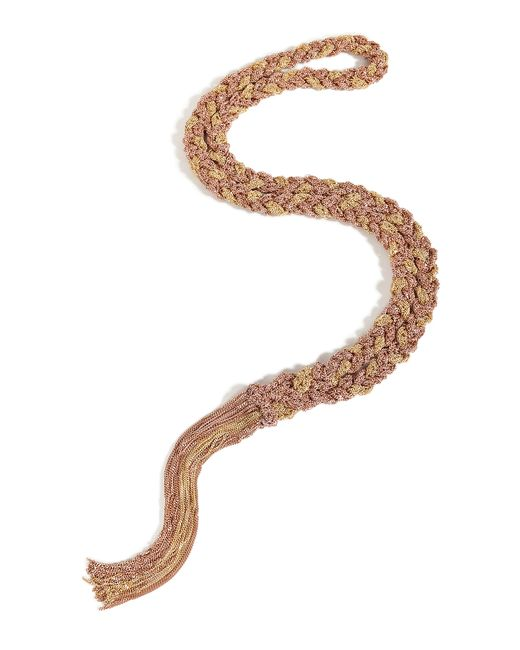 Carolina Bucci | Metallic Gold/rose Gold Woven Chain Tassel Necklace | Lyst