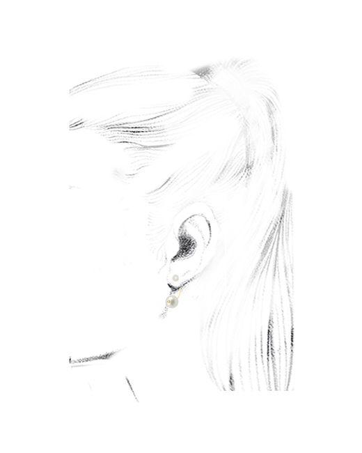 Delfina Delettrez | White Double Pearl Yellow Gold Piercing Earring | Lyst
