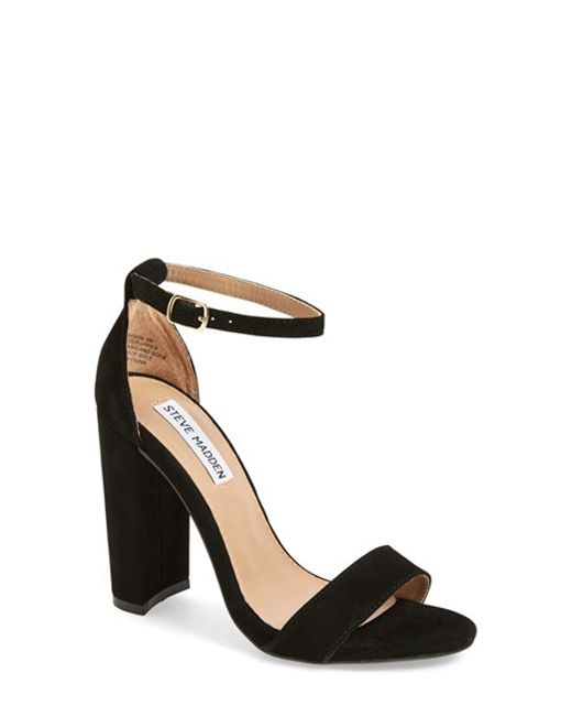 steve madden carrson suede chunky heel sandals in black. Black Bedroom Furniture Sets. Home Design Ideas