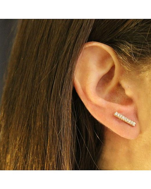 Adornia | Diamond And Yellow Gold Vermeil Barra Bar Stud Earrings | Lyst