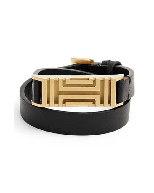 Tory Burch | Black For Fitbit Leather Wrap Bracelet | Lyst