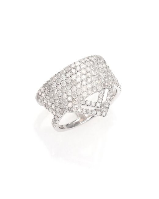 Meira T | Metallic Pave Diamond & 14k White Gold Ice Ring | Lyst
