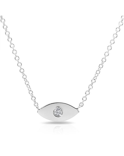 Anne Sisteron - Metallic 14kt White Gold Diamond Evil Eye Necklace - Lyst
