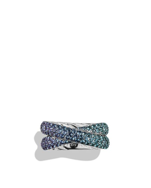 David Yurman | Crossover Ring With Color Change Garnets In 18k White Gold | Lyst