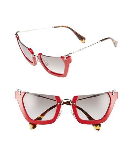 Miu Miu | Red Noir 50mm Semi Rimless Sunglasses | Lyst