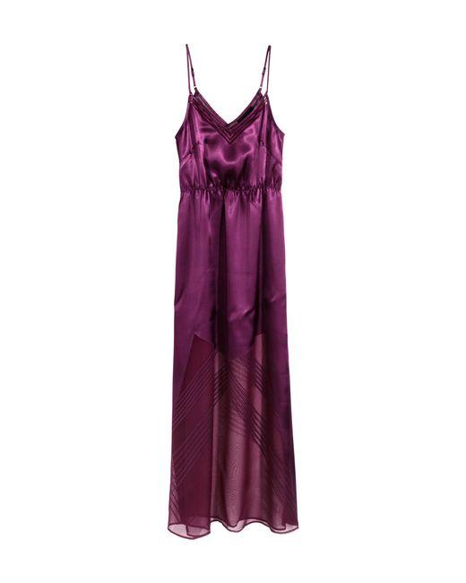 H&M | Purple Satin Maxi Dress | Lyst