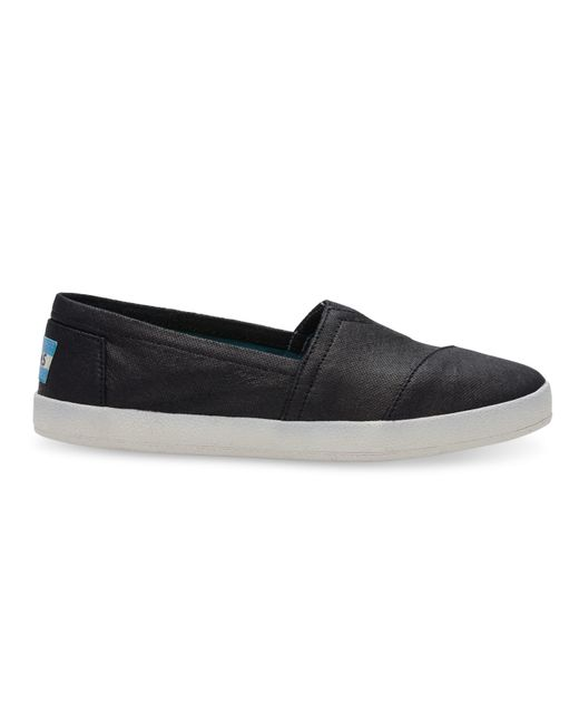 Toms Black Coated Canvas Women S Avalon Slip Ons Shoes Size