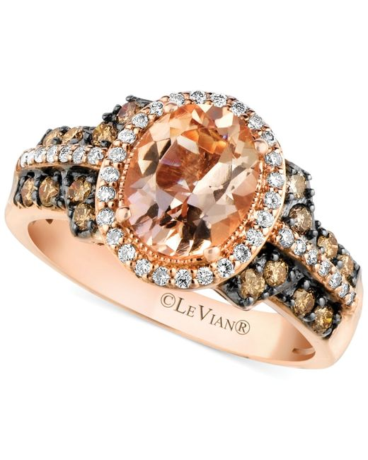 Le Vian | Pink Peach Morganite (1-3/8 Ct. T.w.) And Diamond (1/2 Ct. T.w.) Ring In 14k Rose Gold | Lyst