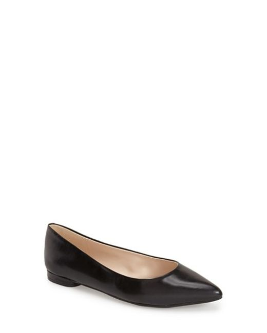 Nine West | Black Onlee Pointed-Toe Leather Flats | Lyst