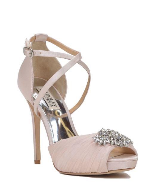 badgley mischka cacique strappy peep toe evening shoe in