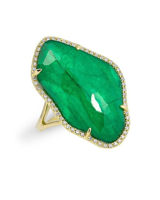 Anne Sisteron   Green 14kt Yellow Gold Emerald Nuage Diamond Ring   Lyst