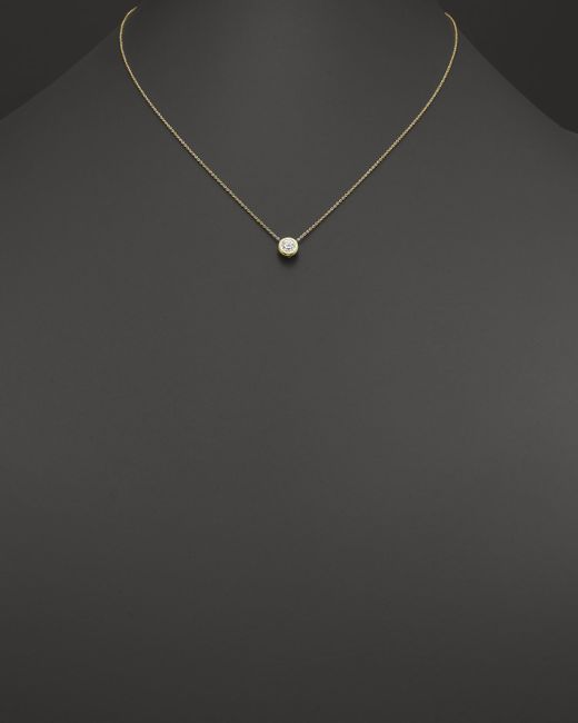Roberto Coin | Metallic 18k Yellow Gold Diamond Bezel Necklace, 16"