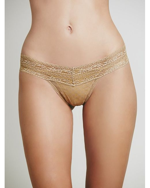 Free People | Natural Lace Trim Thong | Lyst