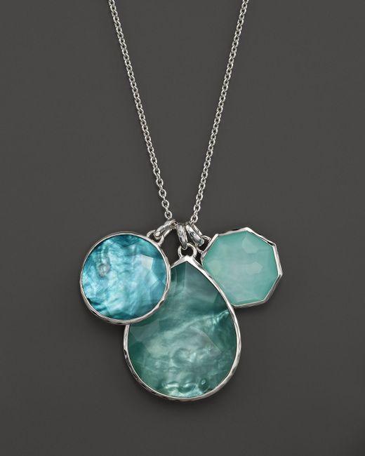 "Ippolita | Metallic Sterling Silver Wonderland 3 Stone Pendant Necklace In Tahiti, 32"" | Lyst"