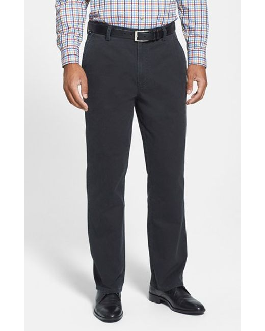 Cutter & Buck | Black 'curtis' Flat Front Five-pocket Cotton Twill Pants for Men | Lyst