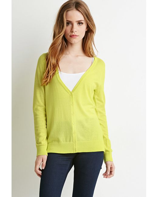 Forever 21 | Yellow Classic V-neck Cardigan | Lyst