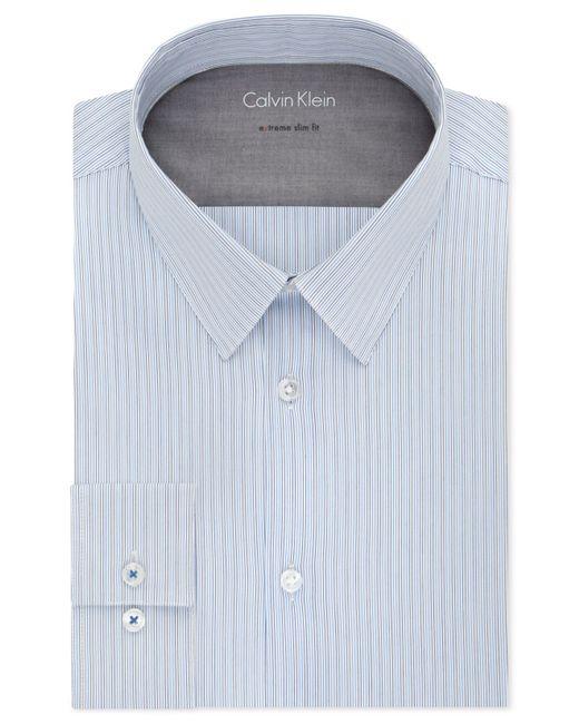 Calvin klein x extra slim fit mist blue and black stripe for Calvin klein x fit dress shirt