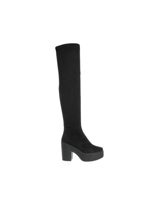 office stretch thigh high boot in black lyst