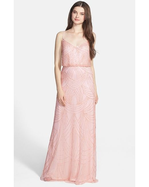 Adrianna Papell | Pink Beaded Chiffon Gown | Lyst