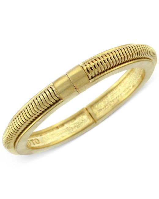 Vince Camuto | Metallic Gold-tone Suede Inlay Hinged Bangle | Lyst