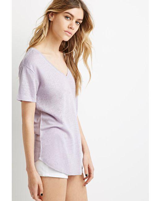 Forever 21 | Purple Linen V-neck Tee | Lyst