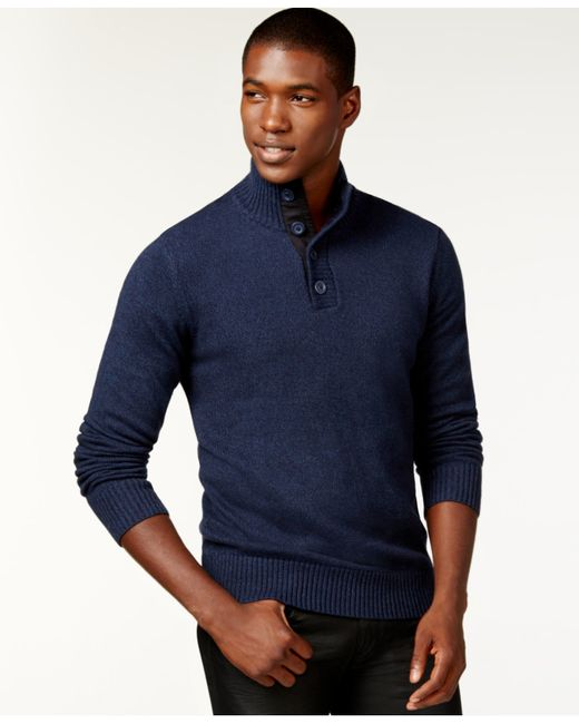 Sean John | Blue Twist-yarn Button-neck Sweater, Only At Macy's for Men | Lyst
