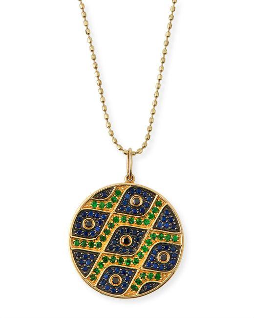 Sydney Evan | Metallic Multi-eye Black Diamond & Sapphire Medallion Necklace | Lyst