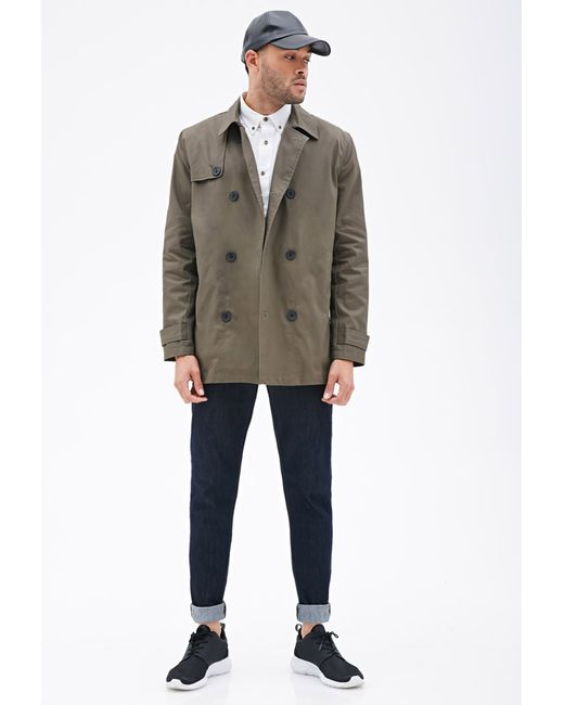 Forever 21 | Green Double-breasted Trench Coat for Men | Lyst
