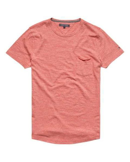 tommy hilfiger classic heathered t shirt in red for men. Black Bedroom Furniture Sets. Home Design Ideas
