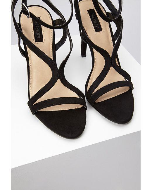 Forever 21 | Black Curved Strap Stiletto Sandals | Lyst