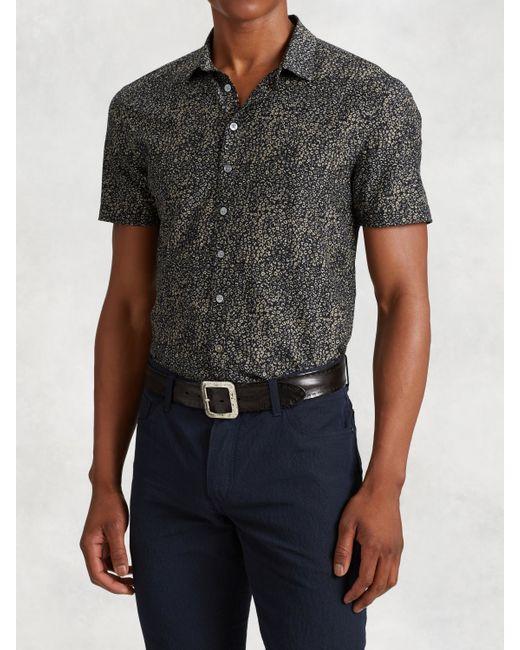 John varvatos cotton silk short sleeve shirt in black for for Silk short sleeve shirt