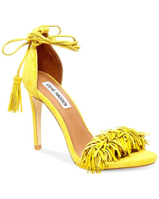Steve Madden Sassey Two Piece Fringe Sandals In Yellow
