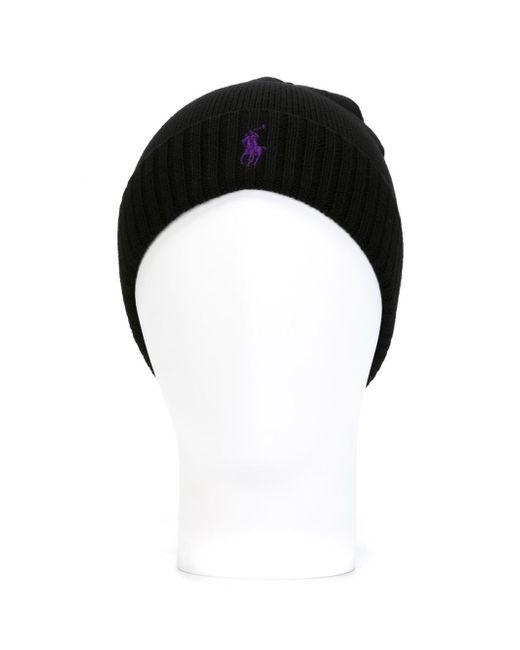 Polo Ralph Lauren | Black Logo Embroidered Beanie for Men | Lyst
