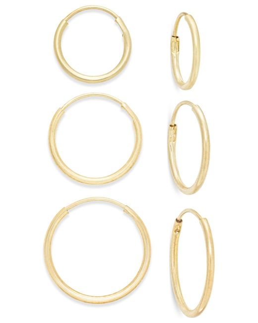 Macy's | Metallic Polished Hoop Earring Set In 10k Gold | Lyst